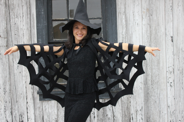 sc 1 st  Delia Creates & No-Sew Halloween Spiderweb Cape TUTORIAL