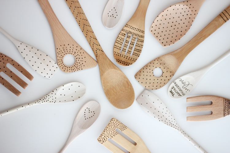 Grandparent Gift: Kid Art Wood Burned Spoons