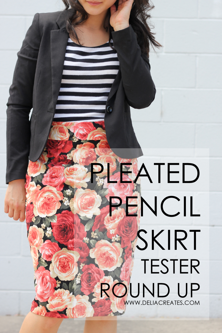 Pleated Pencil Skirt Pattern - Tester Round up (Delia Creates)