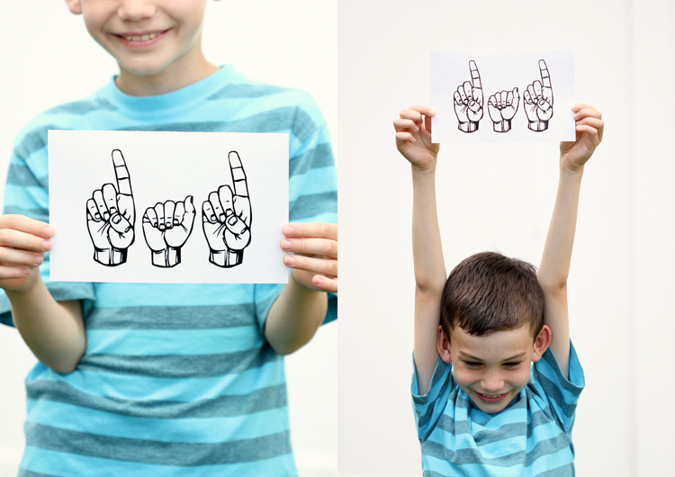 Sign Language Father's Day Card - free printables - Delia Creates