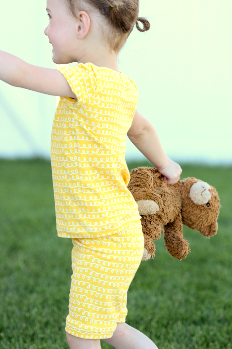 Knit Pajamas made from The Gleeful Collection by Sew Caroline - Delia Creates