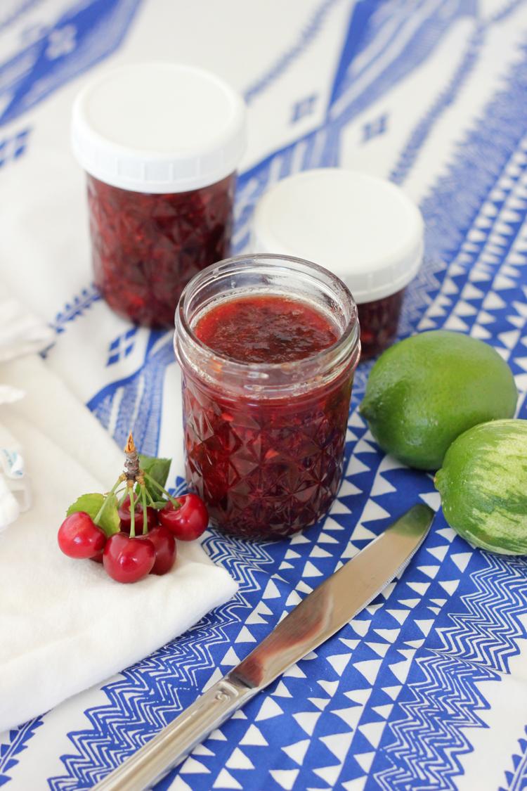 Easy Cherry Lime Freezer Jam Recipe - Delia Creates
