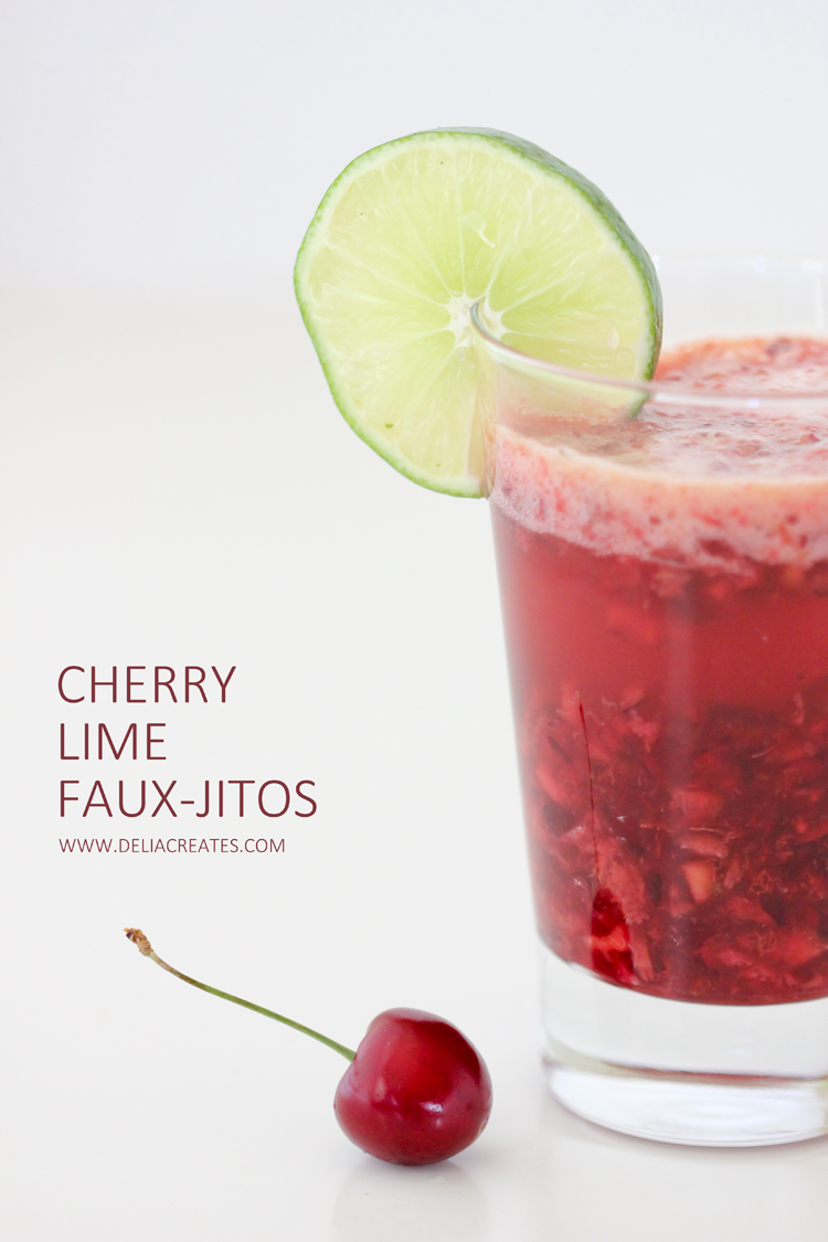 Cherry Lime Mocktail Fauxjitos - Delia Creates