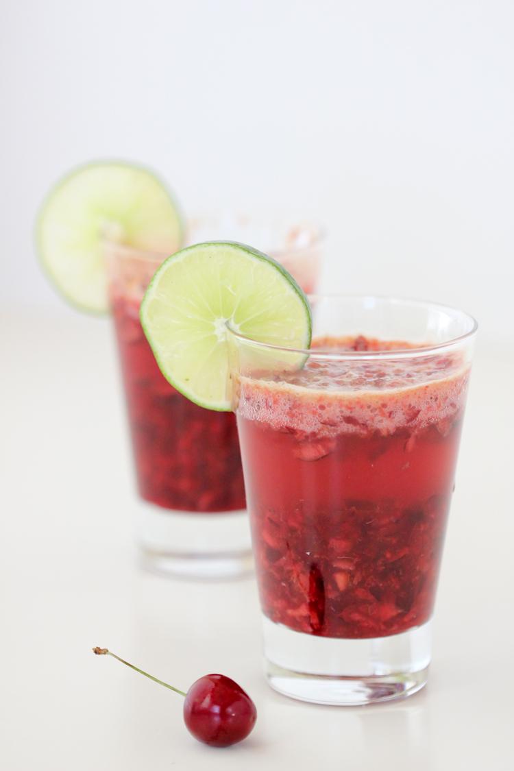 Cherry Lime Mocktail Fauxjitos - Delia Creates