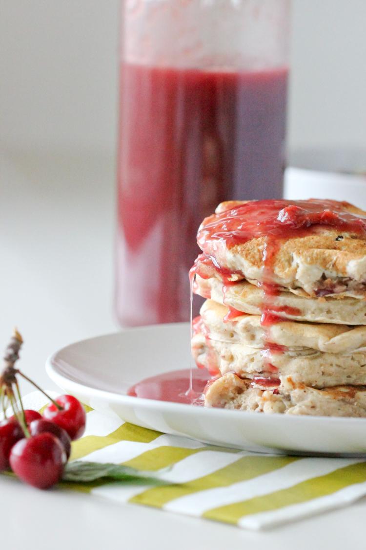 Fresh Cherry Syrup and Vegan Banana Pancakes - Delia Creates