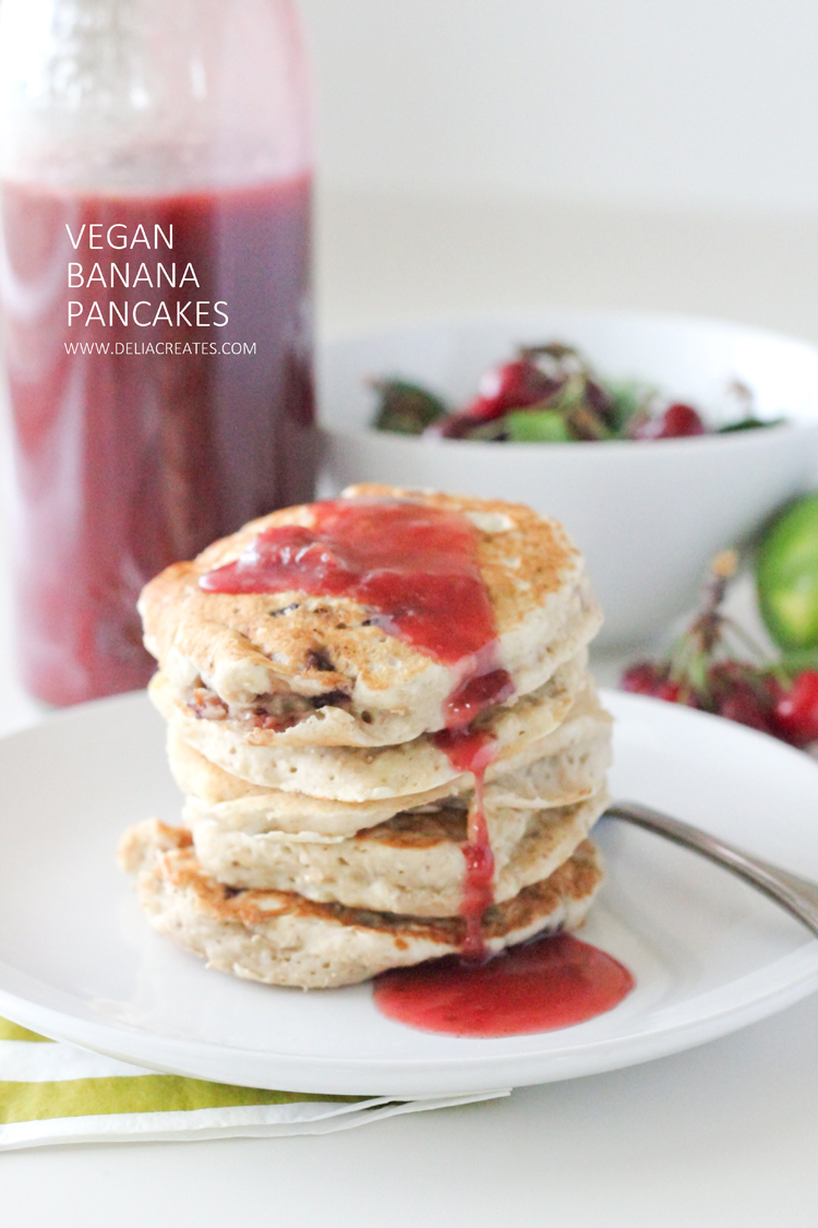 Vegan Cherry Banana Pancakes - Delia Creates