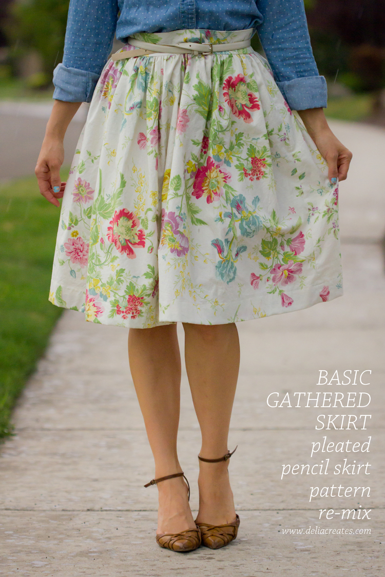 Basic Gathered Skirt  Pattern Re-Mix - Delia Creates