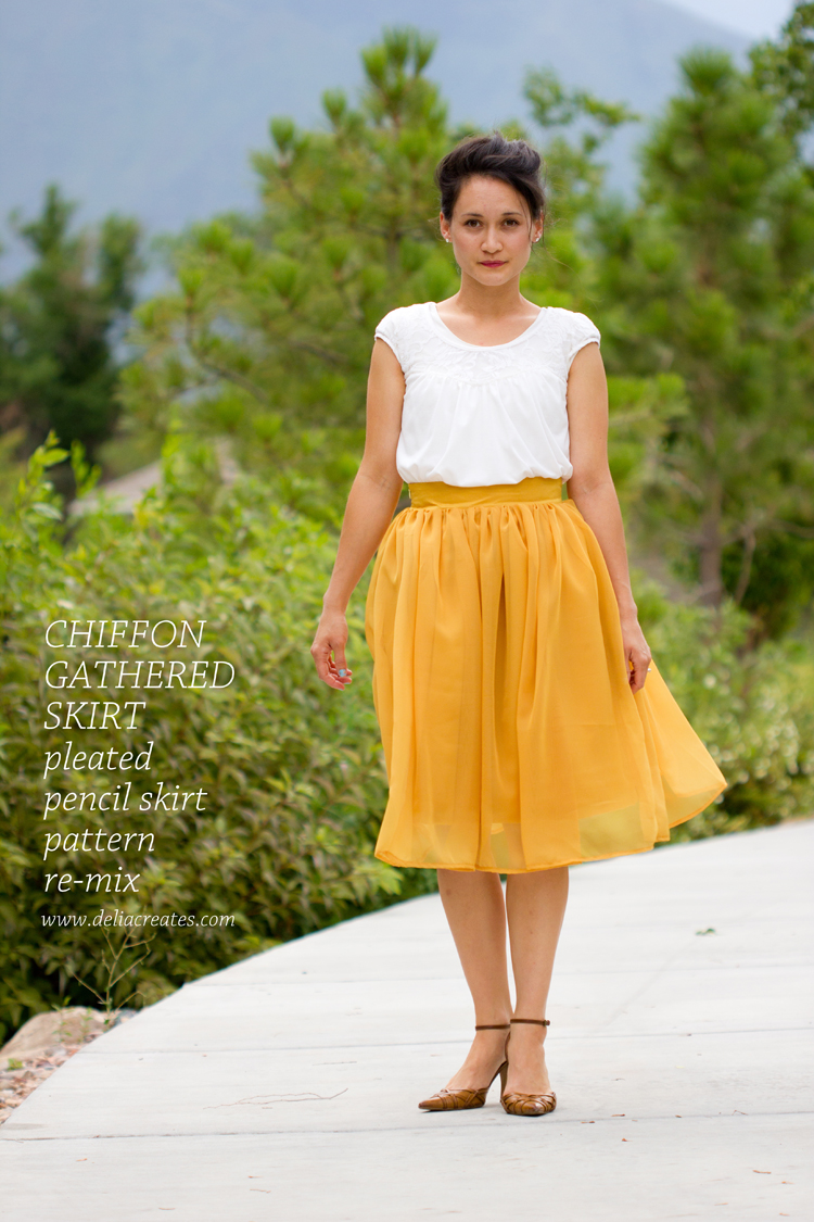 Chiffon Gathered Skirt Pattern Re-Mix - Delia Creates