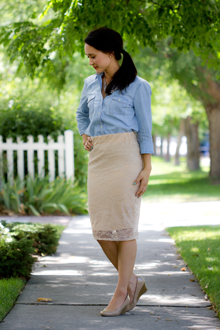Lace Knit Pencil Skirt Tutorial/Pattern Re-Mix - Delia Creates