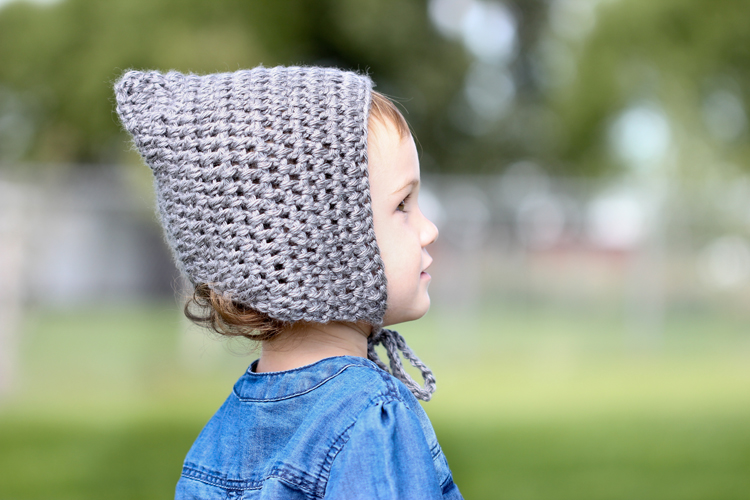 Simple Crocheted Pointed Bonnet Free Toddler Size Pattern