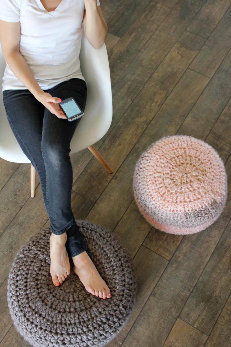 Crocheted Floor Cushions - Free pattern & Tutorial // Delia Creates
