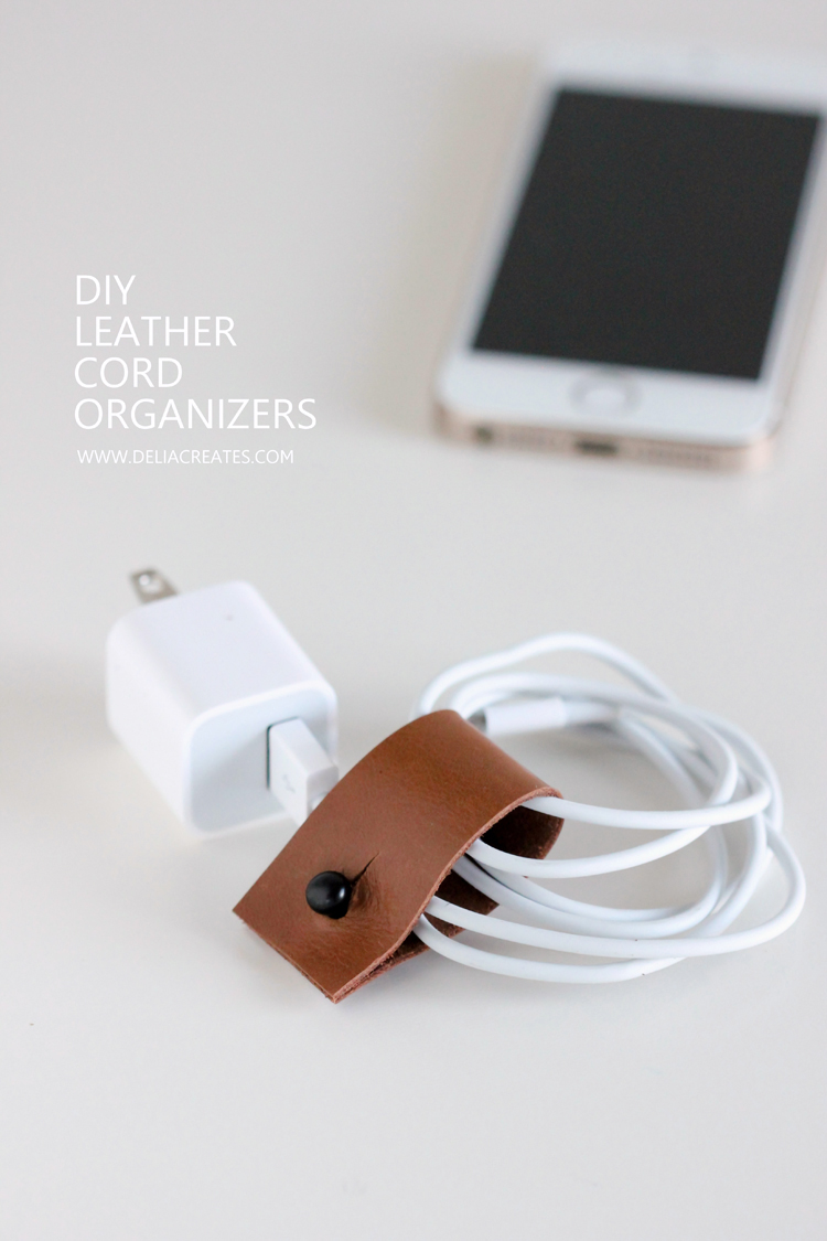 DIY Leather Cord Organizers // Delia Creates