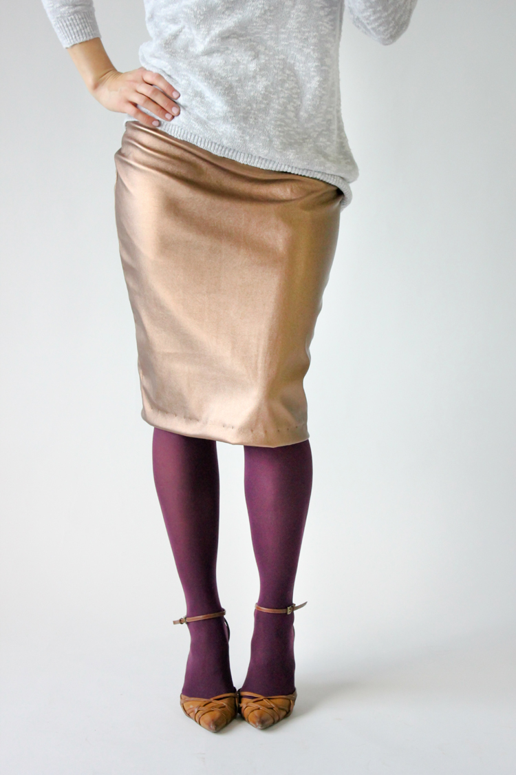 Pencil skirt made from Girl Charlee Vegan Leather...big giveaway on www.deliacreates.com!