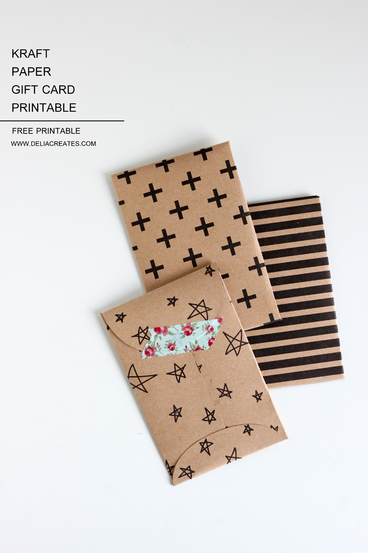 kraft paper gift card envelope  free printable