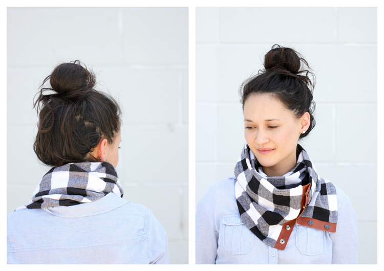 DIY Leather + Flannel Snap Scarf Tutorial // Delia Creates
