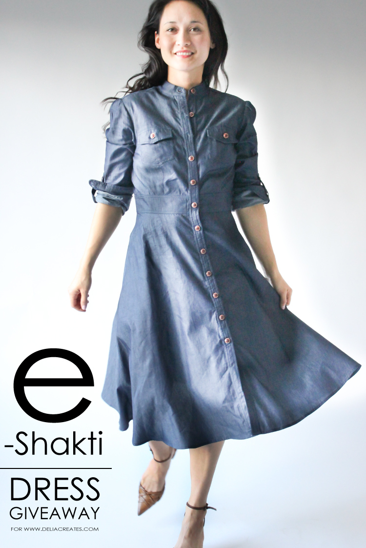 e6185ee7bf Denim dress by eShakti - win a dress of your choice at www.deliacreates.