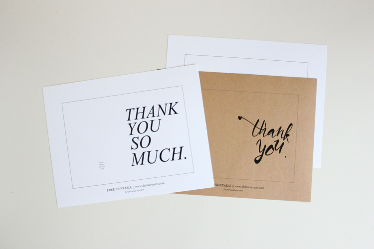 Free Thank You Card Printables // Delia Creates