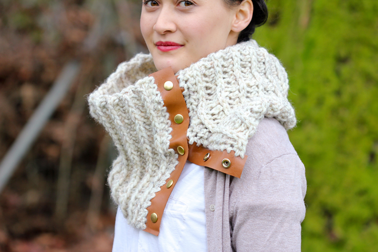 Crochet Leather Snap Scarf - Free Pattern and Tutorial!  // Delia Creates