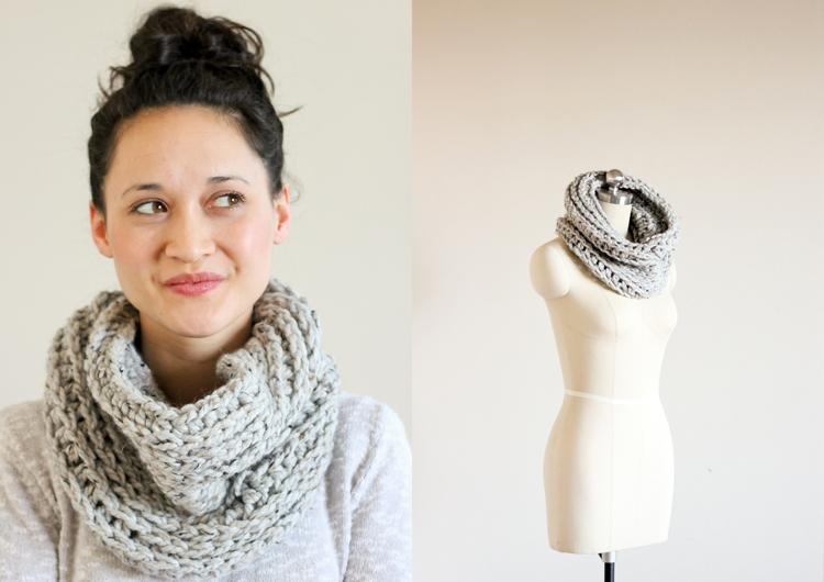 Free knit look crochet cowl pattern // Delia Creates