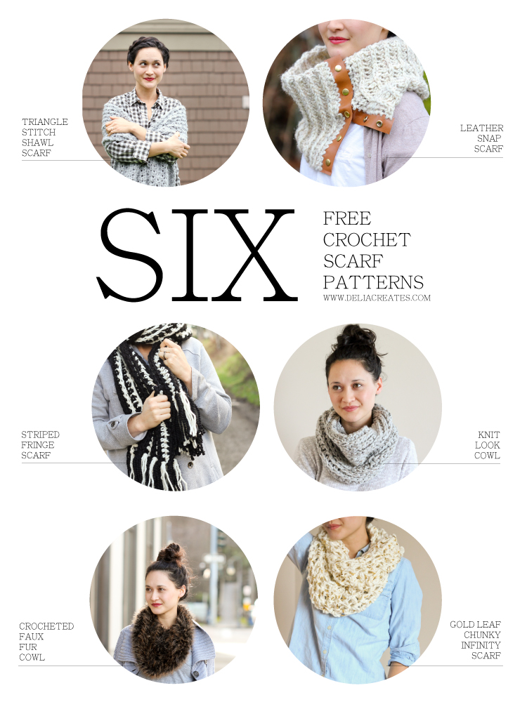 Six Free Crochet Scarf Patterns // Delia Creates