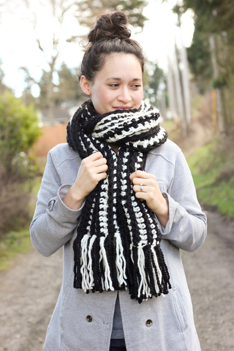 Striped Ribbed Fringe Scarf Free Crochet Pattern