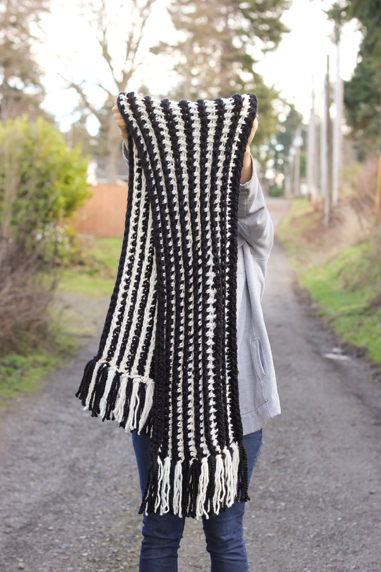 Striped Ribbed Fringe Scarf Free Crochet Pattern