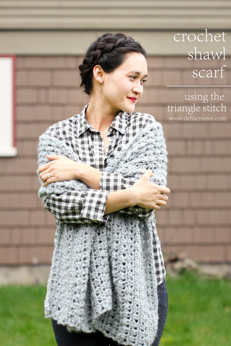 Crochet Shawl Scarf (Free Pattern) // Delia Creates