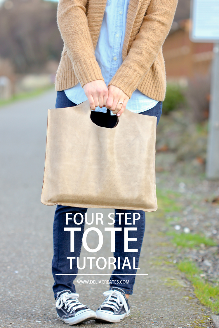 Easy four step leather tote tutorial via www.deliacreates.com