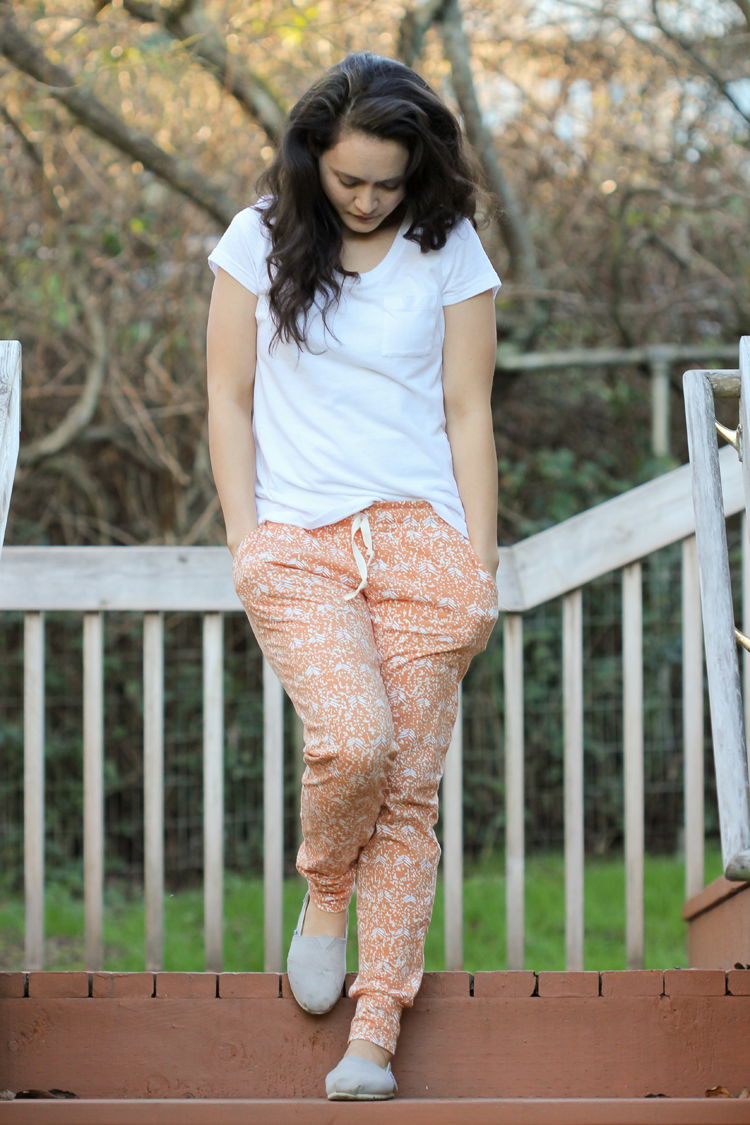 Wanderer fabric by April Rhodes + Hudson Pants by True Bias