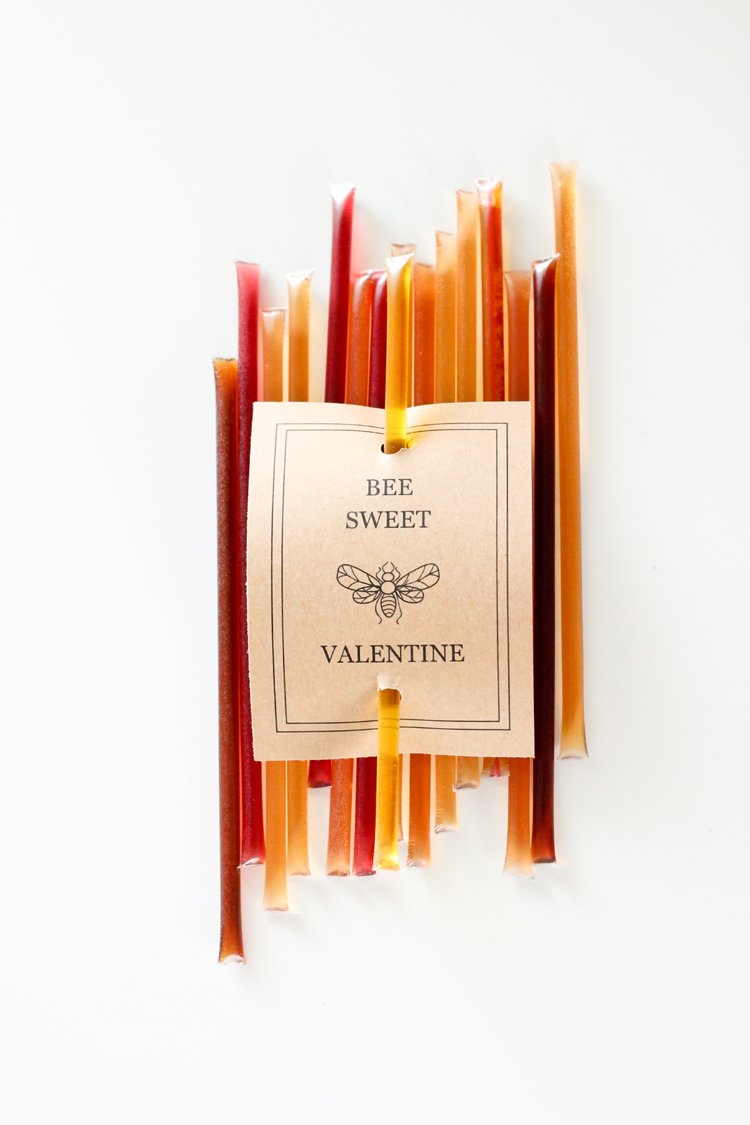 Honey Stick Valentines - Free Printable! // Delia Creates