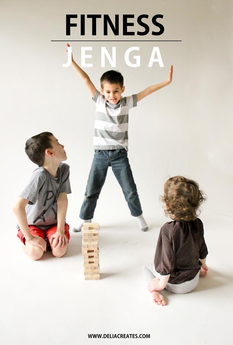 Fitness Jenga - a fun way to help kids burn off energy on a rainy day! // Delia Creates