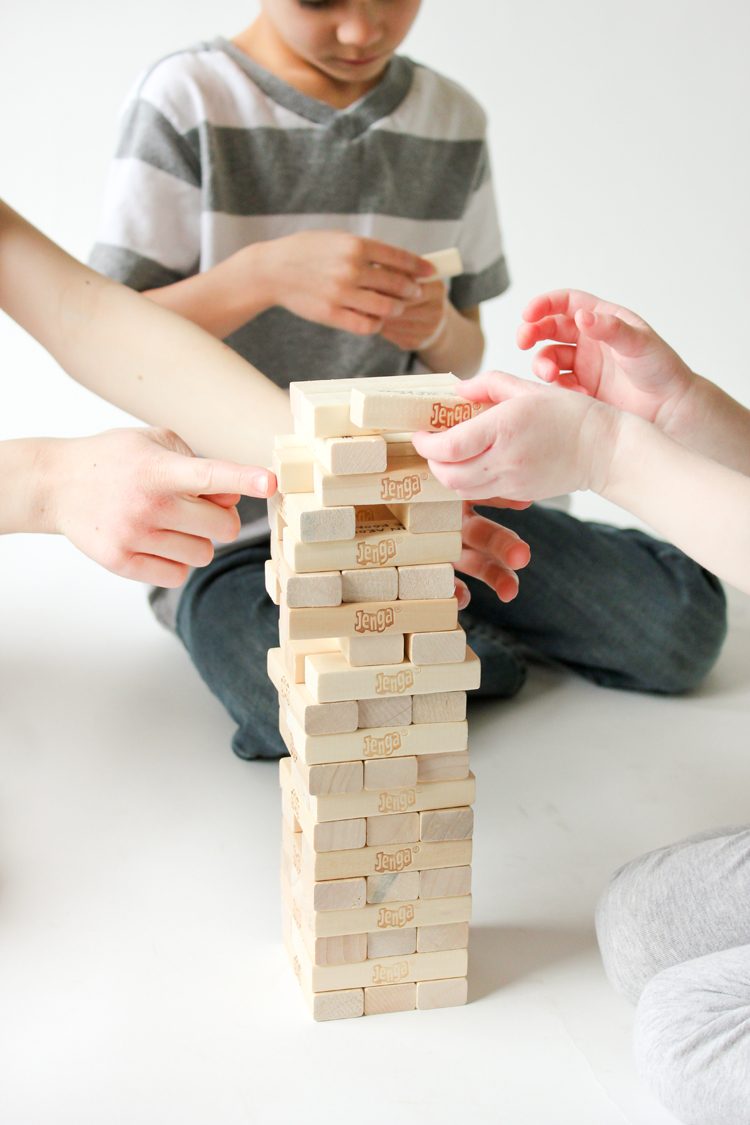 Fitness Jenga - a fun way to help kids burn off energy on a rainy day! // Delia Creates