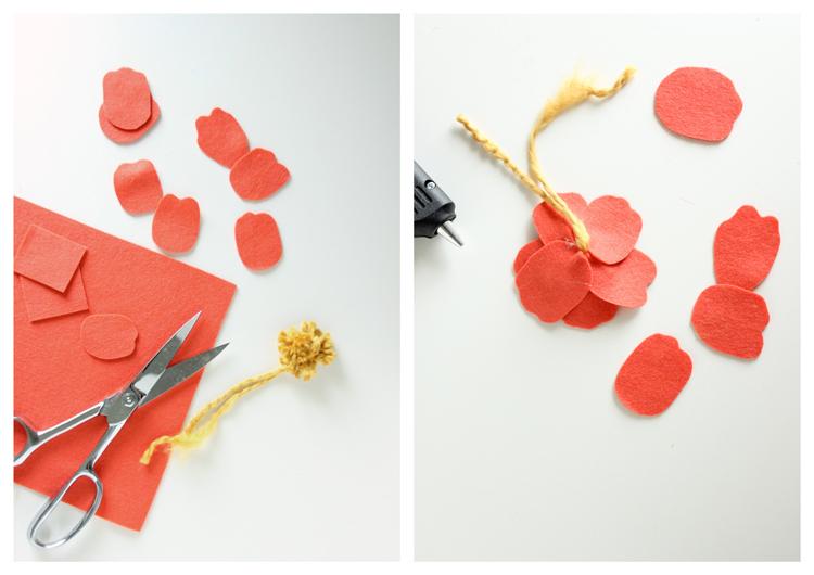 Felt + Yarn Anemone Flower Tutorial // Delia Creates