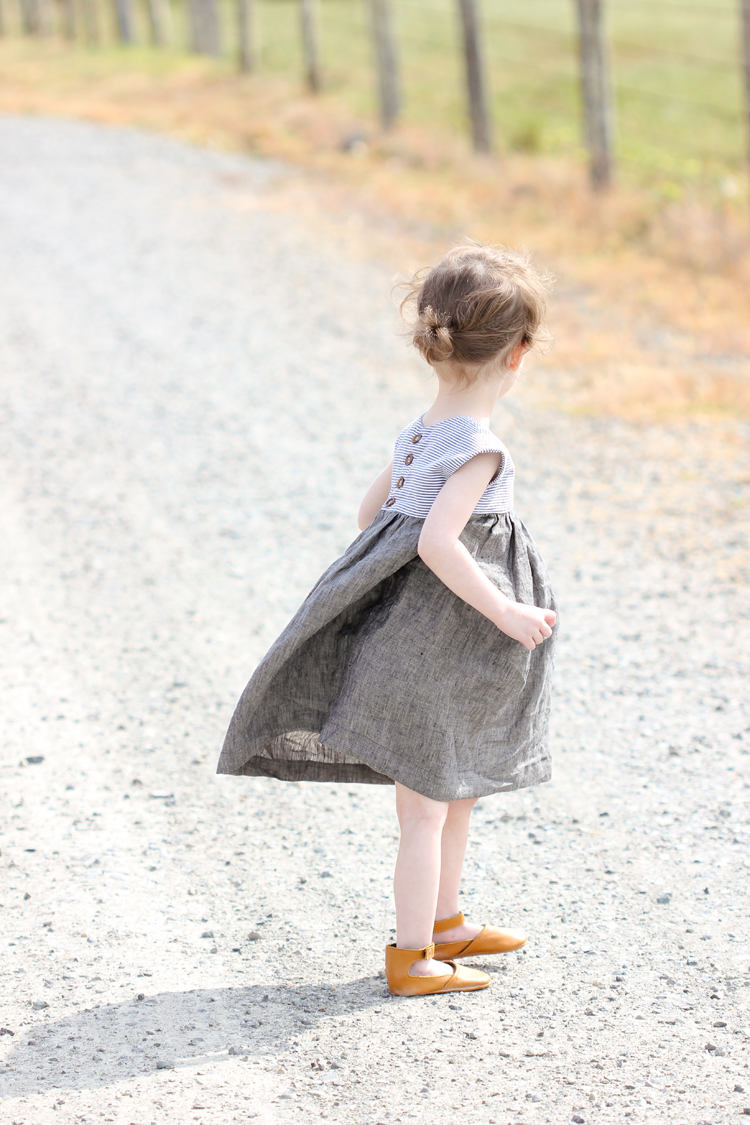 Geranium Dress and Natty Jane leather baby shoes // Delia Creates