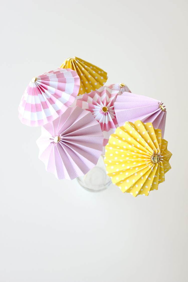 DIY drink umbrellas, made from scrapbook paper // Delia Creates