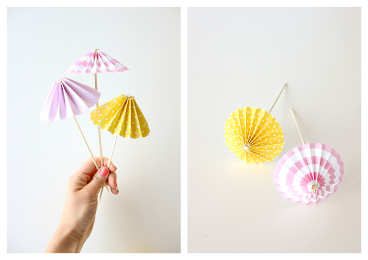 DIY drink umbrellas, made from scrapbook paper // Delia Creates
