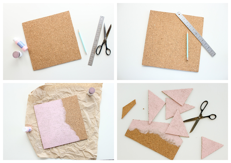 Easy geometric cork coasters // Delia Creates