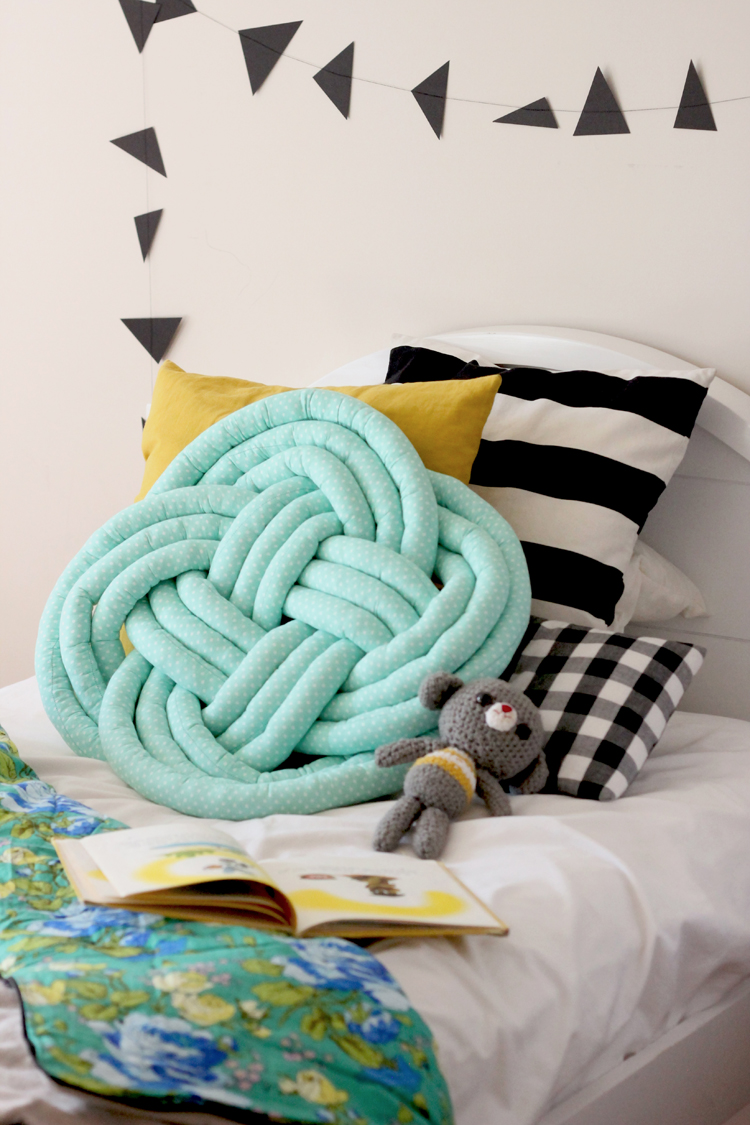 Knotted Cushion for Mollie Makes // Delia Creates