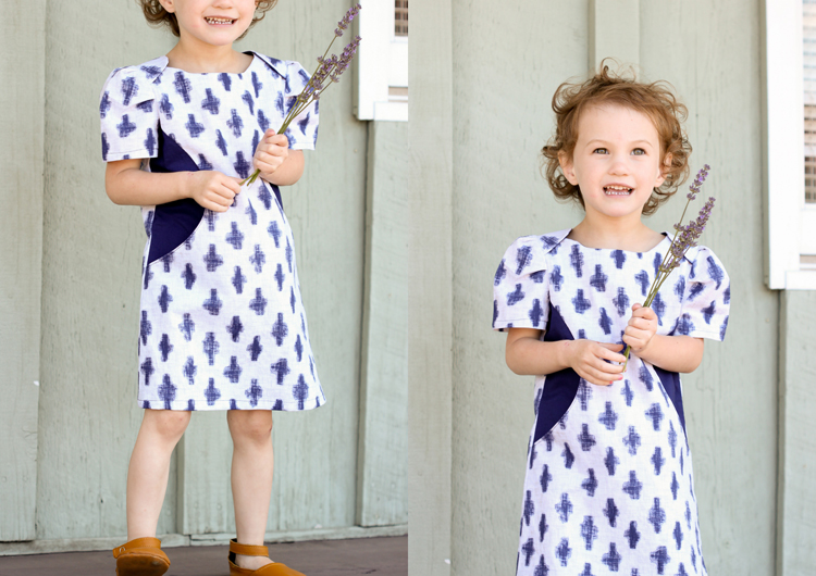 Sunki Dress Pattern by Figgy's // Indigo Yukie fabric from Michael Miller // button closure pattern hack by Delia Creates