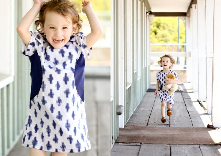 Sunki Dress Pattern by Figgy's // Indigo Yukie fabric from Michael Miller // button closure pattern hack by Delia Creates