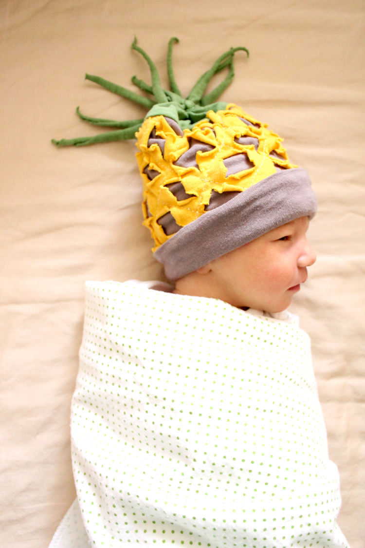 Baby Pineapple hat - sewing tutorial // Delia Creates