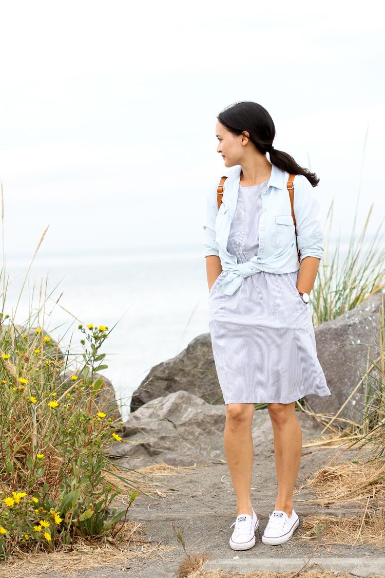 Striped Shirting Staple Dress // Delia Creates