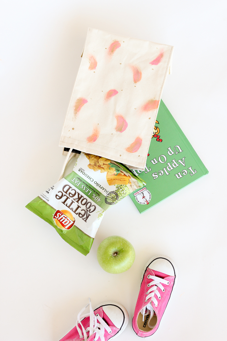 Easy painted canvas lunch sack // Delia Creates