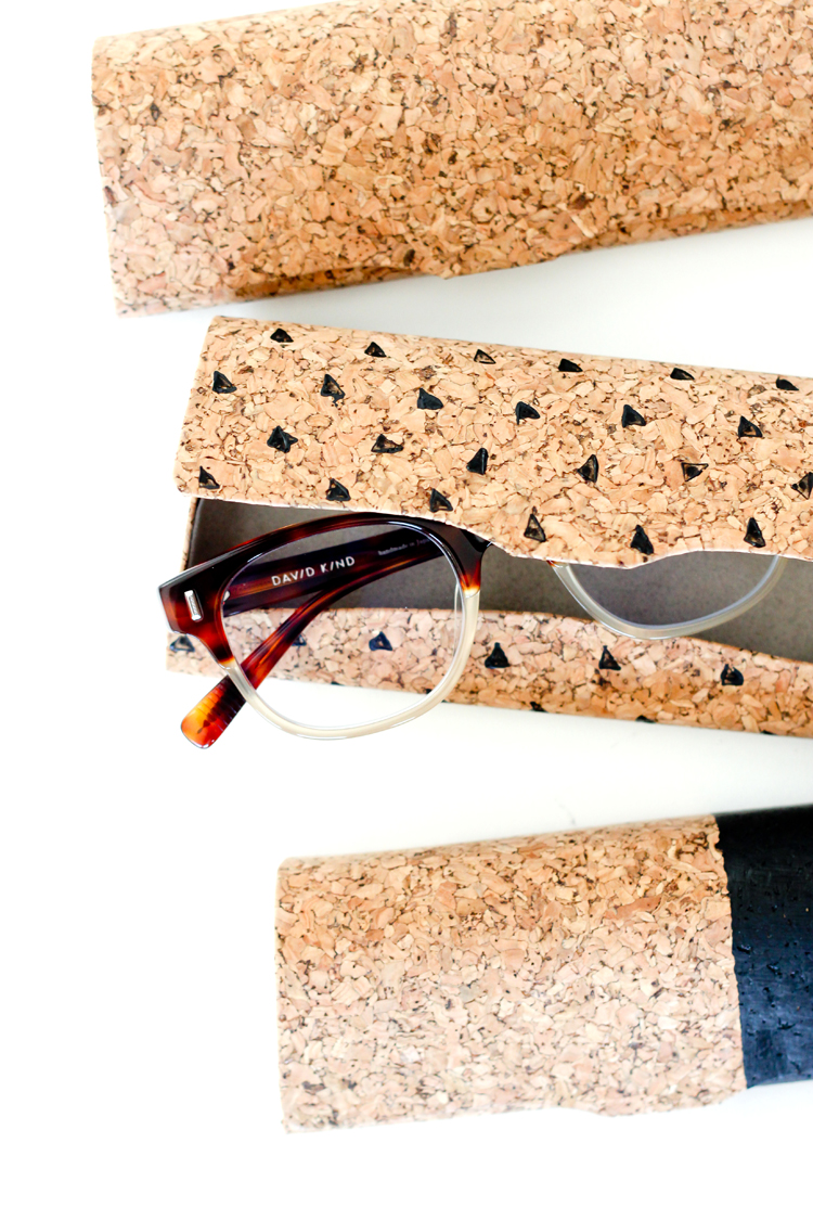 Painted cork glasses cases // Delia Creates