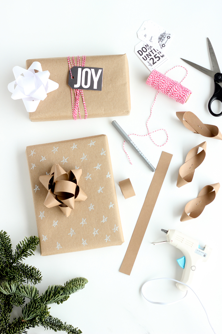 Three easy ways to dress up kraft wrapping paper with copy paper! // Delia Creates