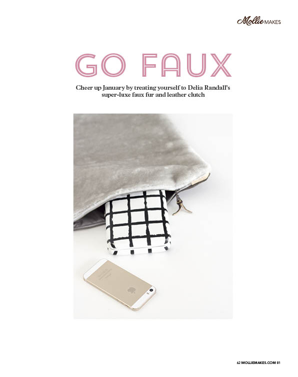 Fur + Leather fold over clutch // Delia Creates feature in Mollie Makes, issue no. 62