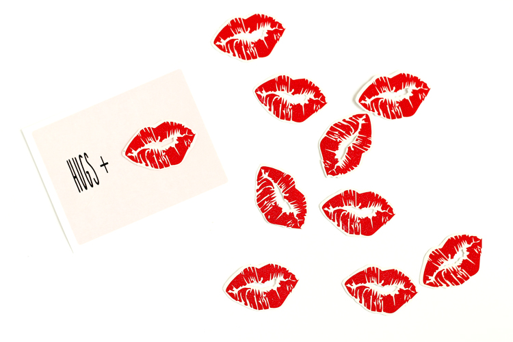 graphic relating to Printable Temporary Tattoos called Hugs + Kisses Short-term Tattoo Valentine with cost-free