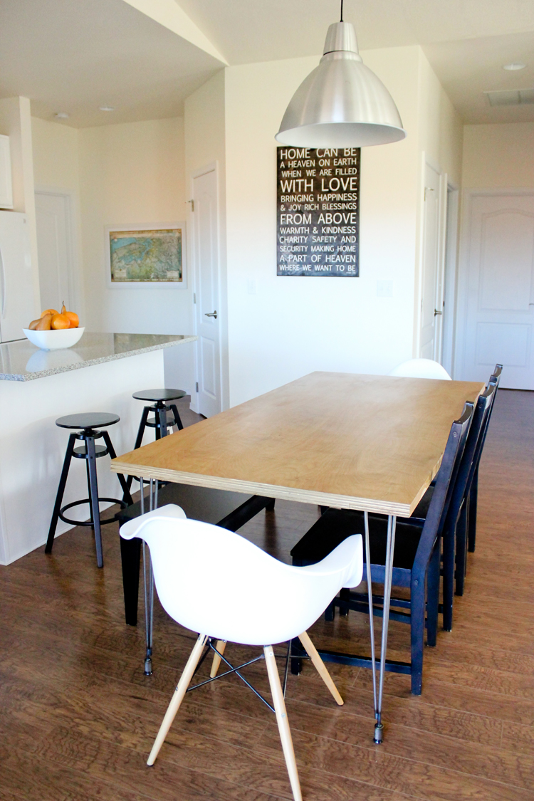 Kitchen Table: Plywood Hair Pin Leg Dining Table