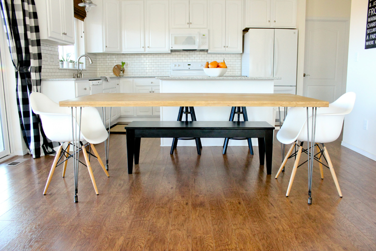 Plywood + Hairpin Leg Kitchen Table // www.deliacreates.com