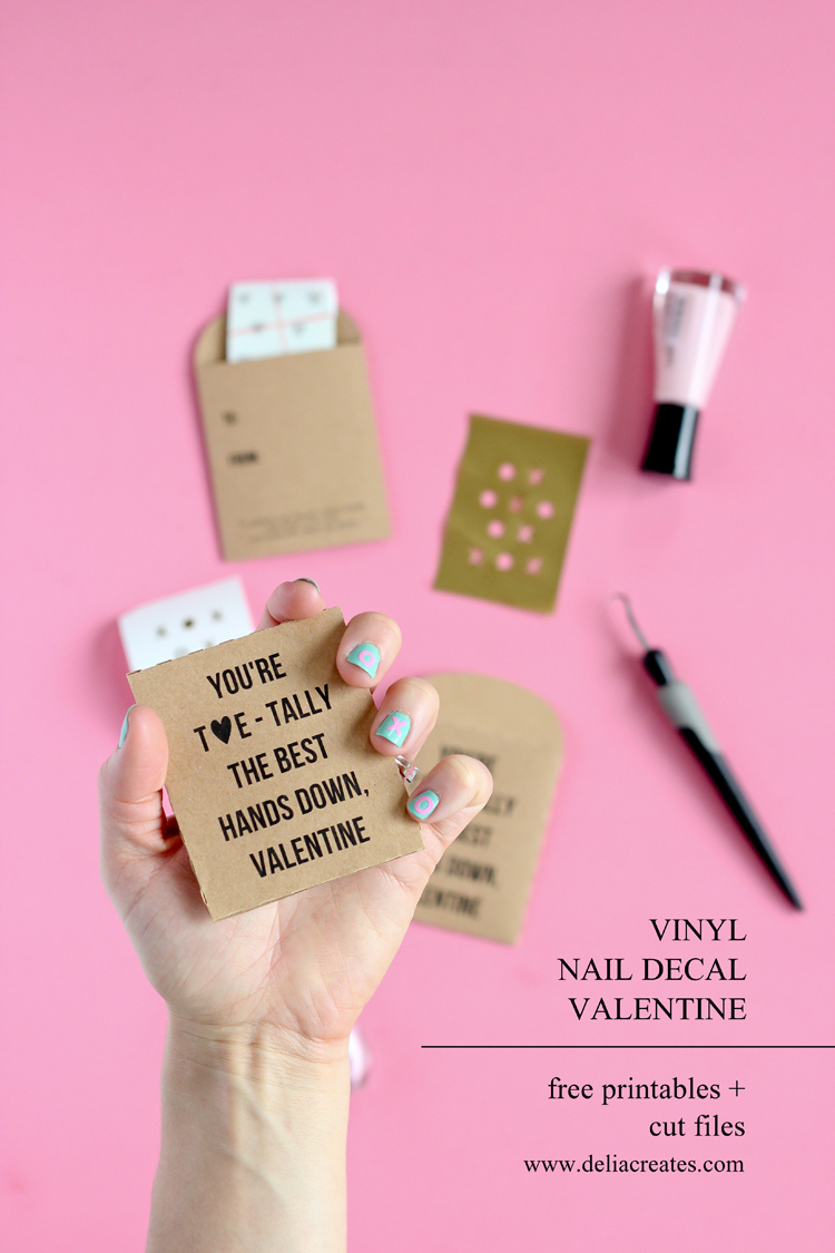 Nail Decal Valentine Free Printable + Cut Files // www.deliacreates.com